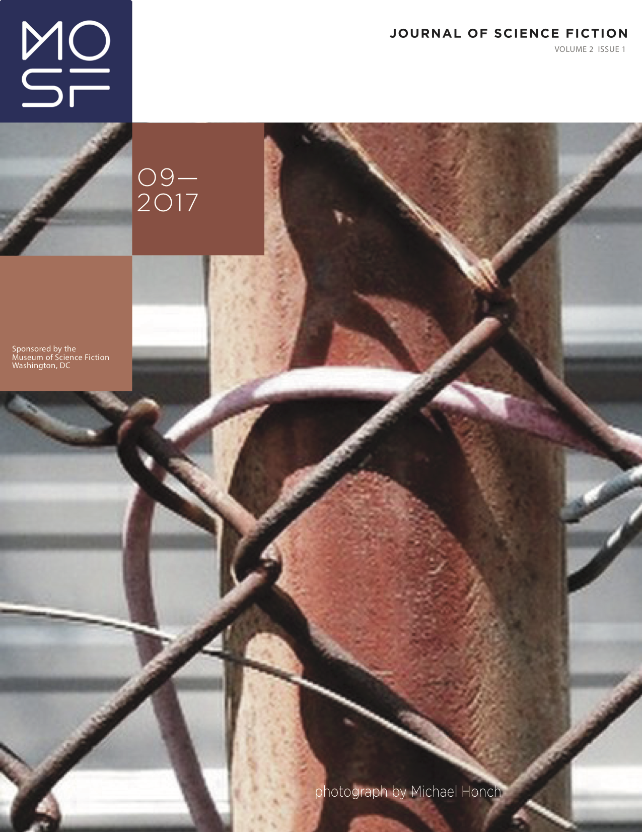 Cover art for Issue 2.1 (photograph of chain-link fence)